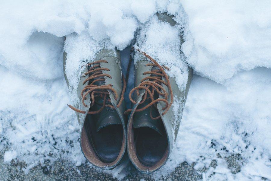 Pas op met leren schoenen in de sneeuw