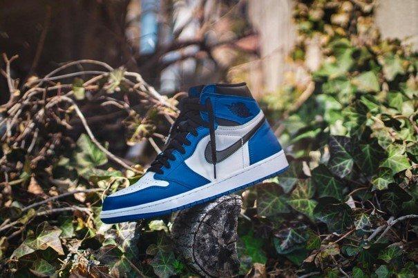 Een blauwe sneaker die rust op een boomstronk